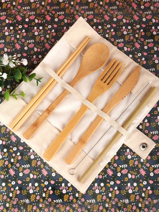 Bamboo Travel Cutlery Set beige pouch