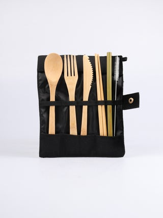 Bamboo Travel Cutlery Set black pouch