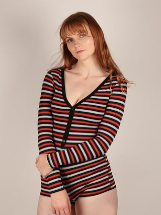 Long Sleeve Striped Romper