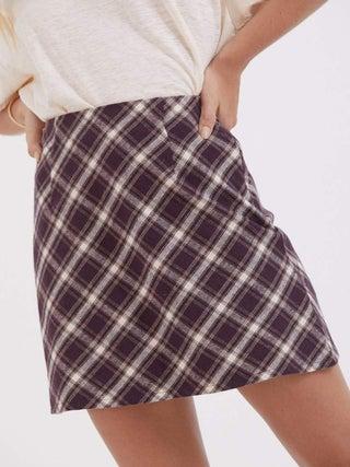 Mariah - Hemp Check Bias Cut Skirt