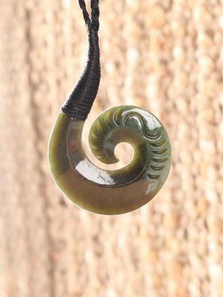 NZ MADE - Greenstone Bound Hook Pendant