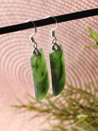 NZ Made, NZ Stone Hook Long Earrings - 2