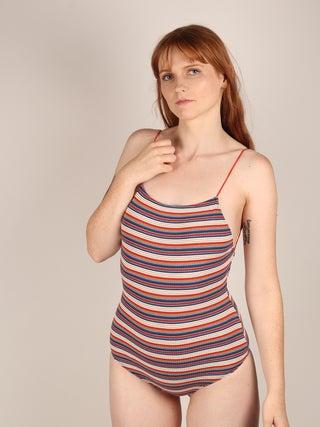 Open Back Striped Bodysuit
