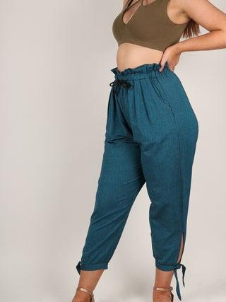 Paperbag Waist Cotton Pants