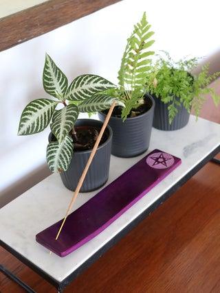 Pentacle Soapstone Incense Holder purple