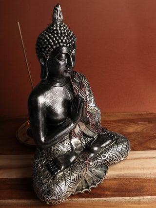 Sitting Buddha silver 30 cm
