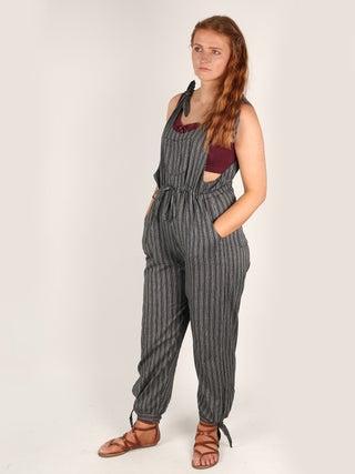 Stripe Cotton Overalls