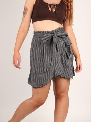 Striped Cotton Mini Skirt