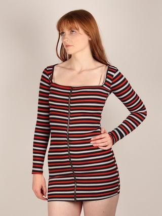 Zip Long Sleeve Stripe Dress